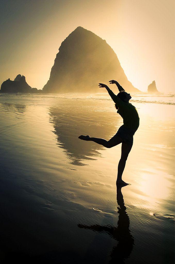 To dance along Oregon's Cannon Beach