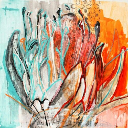 Janine Holloway-Triptych (part 3)-Acrylic on board-900x900mm-Sold