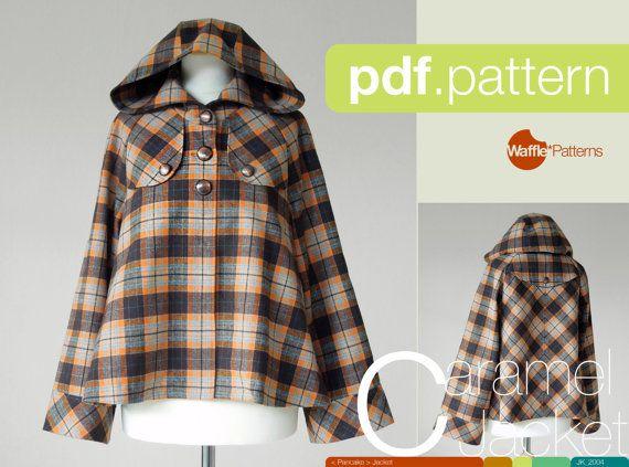 PDF sewing pattern. Women Short Duffle Jacket by WafflePatterns, €12.30