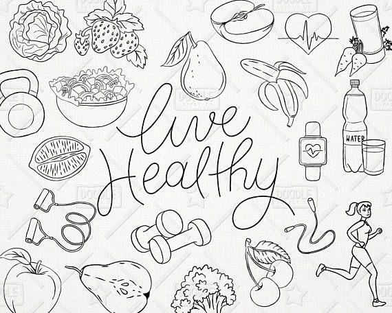 Doodle Healthy Lifestyle Vector Pack Live Healthy Graphics Etsy In 2021 Healthy Lifestyle Healthy Living Doodles