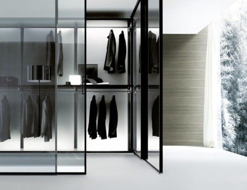 closet white walk in closet walk in walk room glass modern contemporary grey black interior minimal minimalistic male fashion