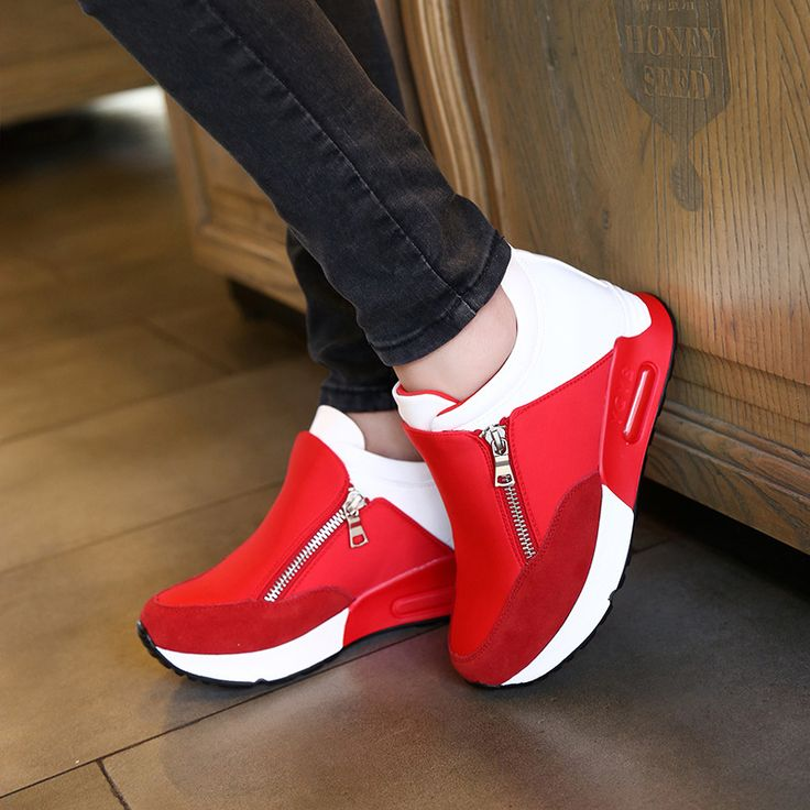 Fashion 2016 Spring Brand Women Casual Shoes Zipper Height Increasing Breathable Women Walking Flats Trainers Shoes Autumn //Price: $US $19.99 & FREE Shipping //     #fashion