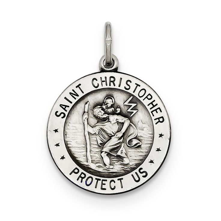Sterling Silver St. Christopher Football Medal QC3573