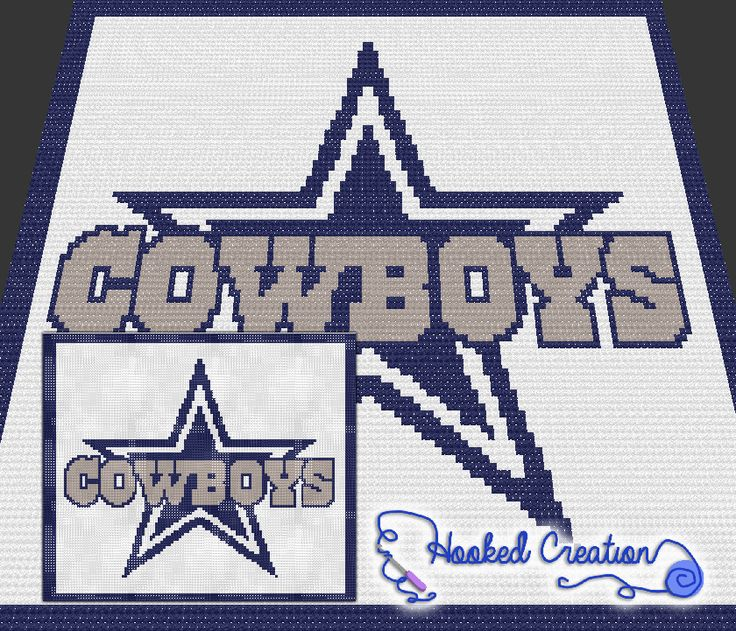 Dallas Cowboys Mini C2C Throw Blanket Crochet Pattern - PDF Download