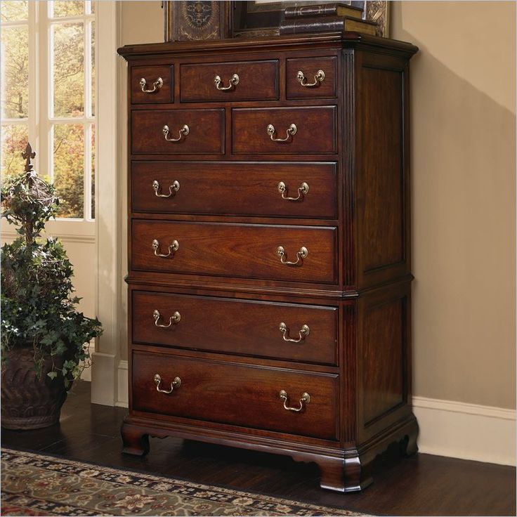 Lowest price online on all American Drew Cherry Grove 9 Drawer Chest in Antique Cherry Finish - 791-215