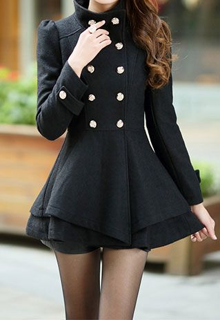 Retro Elegant Multi-layer Hemline Double Breast Worsted Coat