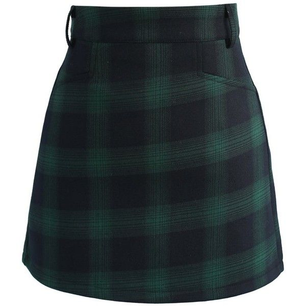 Chicwish Classy Tartan Bud Skirt in Green (590 ARS) ❤ liked on Polyvore featuring skirts, mini skirts, bottoms, green, green skirt, green mini skirt, tartan skirt, green plaid mini skirt and short skirts
