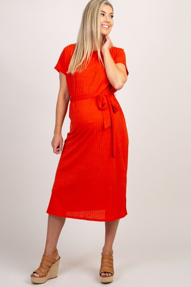 5ae27f4112 Red Ribbed Sash Tie Maternity Midi Dress in 2019
