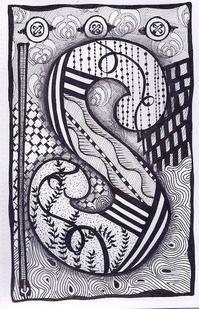 Zentangle, Letter S, Zebra Letters, name, bunting, alphabet