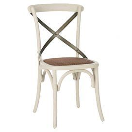 Oak Side Chair In Antique White With A Criss Cross Back And Upholstered  Seat. Product