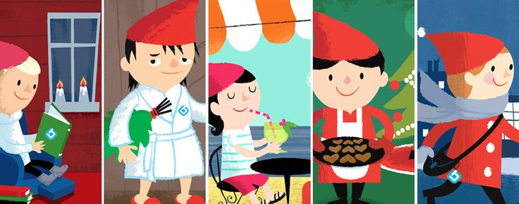 Christmas Elves for LähiTapiola. Character illustrations by Kati Närhi, 2014