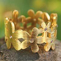 NOVICA - Thailand - Jantana 'Mystical Frangipani' amethyst brushed 24k gold plated floral band ring. <3