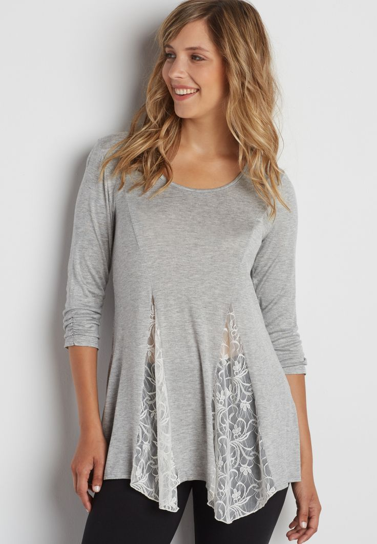 swing tee with lace inset