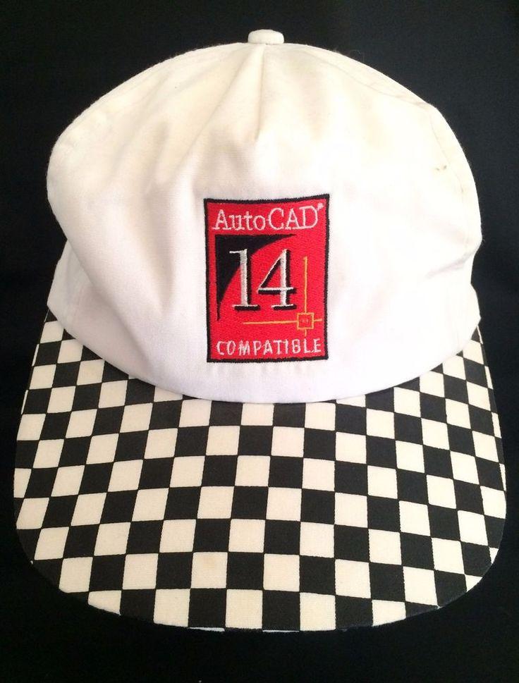 AutoCAD 14 Autodesk IBM Hat Baseball Cap Checkered White Black Snapback OneSize #AutoCADIBM #BaseballCap