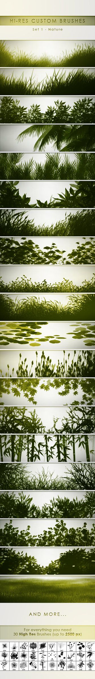 30 Hi-Res Custom Brushes - Nature by PrismaDesign.deviantart.com on @DeviantArt