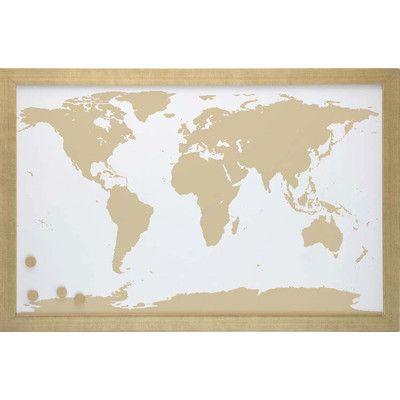 World Map Framed Magnet Board   Joss & Main