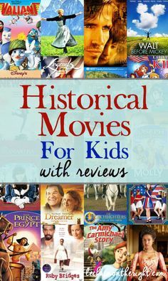 Historical Movies for Kids - great idea for hands on history; a list of history movies for homeschool, elementary school, or middle school.