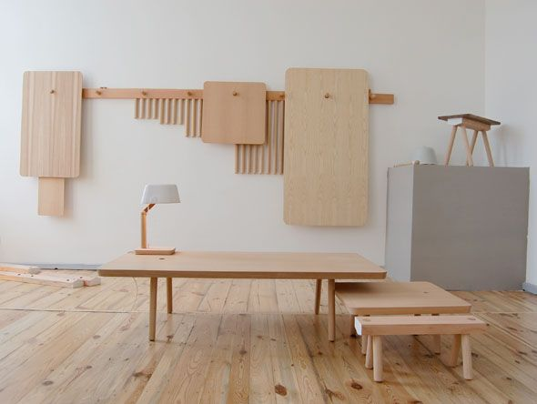 StudioGorm - per furniture. A family of furniture that can be hung on the wall when not in use