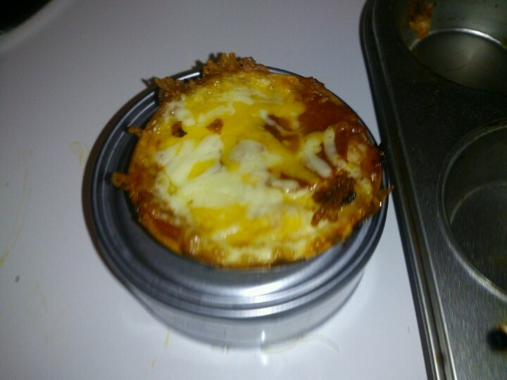 Mini pizza made in muffin tin with soft tacos as shell!cooks in 6-7 min! Tasty!