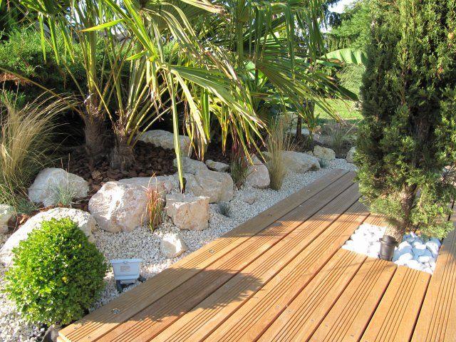 Image aper u de la nouvelle terrasse en cours de Realisation jardin