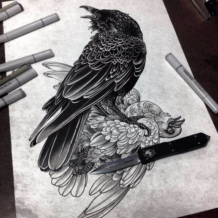 bird tattoo flash by alexander grim