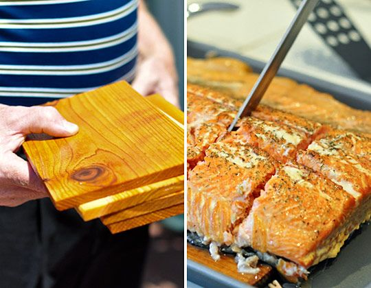 Fresh salmon that's been rubbed with herbs and grilled slowly over wine-soaked cedar planks