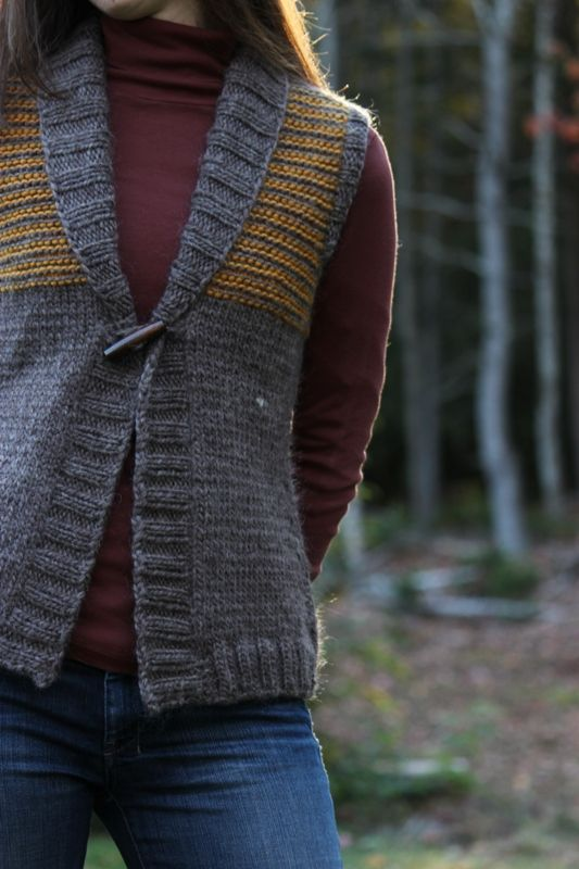 rustic vest knitting pattern...seamless and uses bulky weight yarn. Women and Plus sizes.