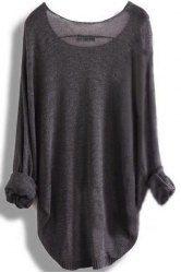 Chic Scoop Neck Asymmetrical Long Sleeve Sweater For Women (DEEP GRAY,XL) | Sammydress.com Mobile