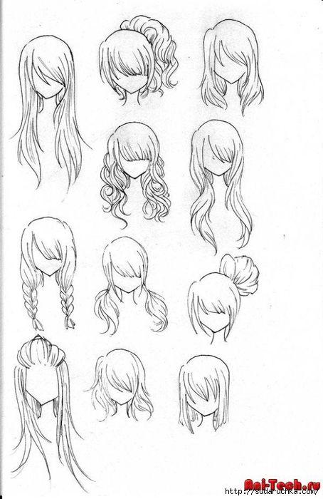 Схемы как нарисовать волосы