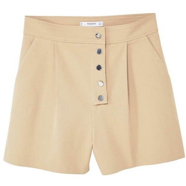 MANGO Buttoned cotton shorts (€56) ❤ liked on Polyvore featuring shorts, mango shorts, cotton shorts and button shorts