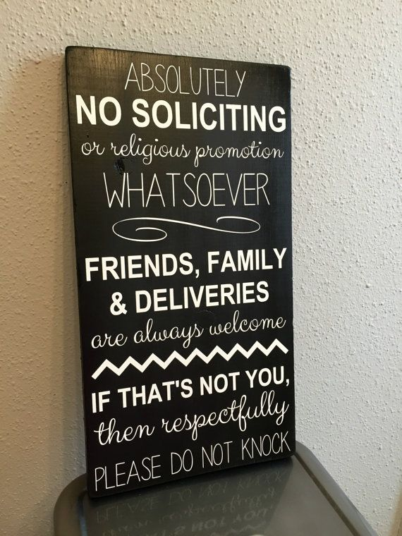 Made to Order No Soliciting Sign Door by MayfairMarketSigns