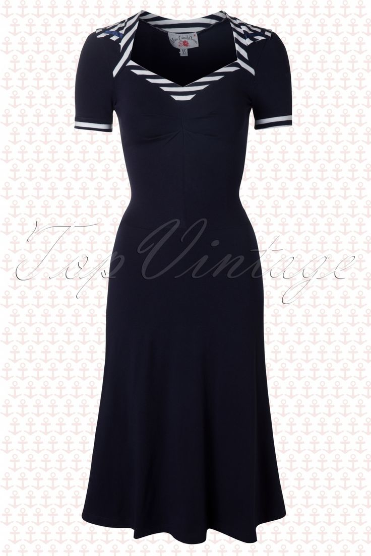 Miss Candyfloss - TopVintage exclusive ~ 50s Edie Striped Sailor Dress in Navy White