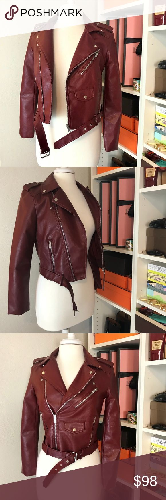 Burgundy Moto Biker Motorcycle Jacket Maroon Red Vegan