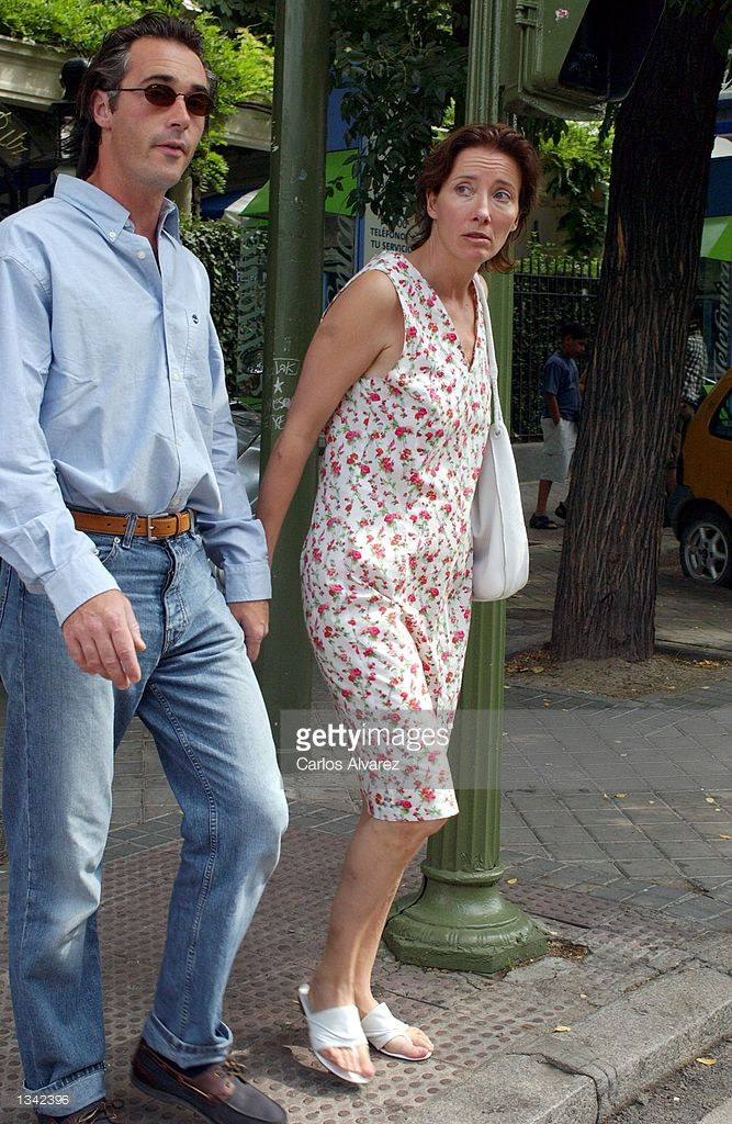 Actress Emma Thompson and her companion, actor Greg Wise, walk together August 18, 2002 in Madrid, Spain. Thompson is in Madrid for the filming of 'Imagining Argentina' with actor Antonio Banderas.