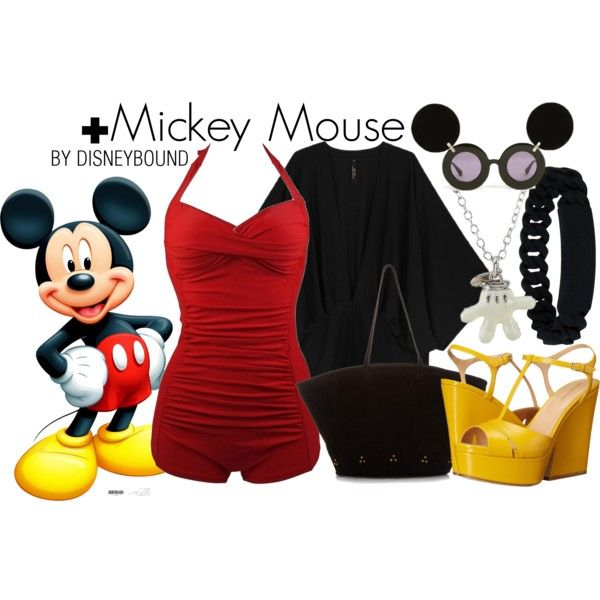 Mickey Mouse by leslieakay on Polyvore featuring Melissa McCarthy Seven7, Sergio Rossi, Jérôme Dreyfuss, Marc by Marc Jacobs, Disney, Jeremy Scott, disney, disneybound, plussize and plussizeswimsuit