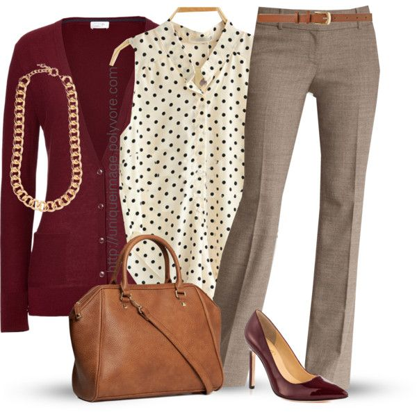 This look is still apropos for a business casual day. A fashion look from  November 2013 featuring Closed cardigans, Ann Taylor pants and Ivanka Trump  pumps.