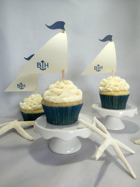 Sailboat Cupcake Toppers Custom Cupcake Toppers Nautical