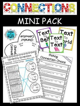 My connections unit is coming up in a few weeks. I wanted to make a few fun activities that would keep students interactive with their books during silent reading. I hope this pack is super useful to you and your students! ~This mini pack includes... ~Text Connection Chains ~Posters to hang the chains from (Test to Self.