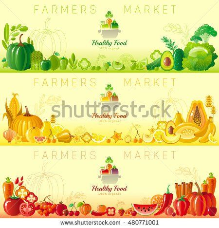Farmers market fruit and vegetable banner set with food icons, text lettering cooking pan logo, organic diet icon. Fruits - apple, banana,orange, lemon. Vegetables - pumpkin, avocado, tomato, herbs