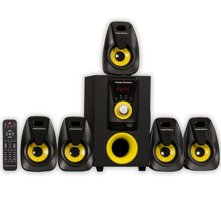 6-Piece Home Theater Speaker System with Audio USB/SD Inputs, Remote #HomeTheater