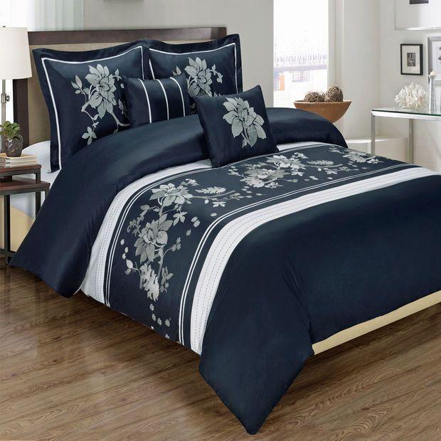 Myra Navy 6-Piece Comforter Set Embroidered 100% Cotton