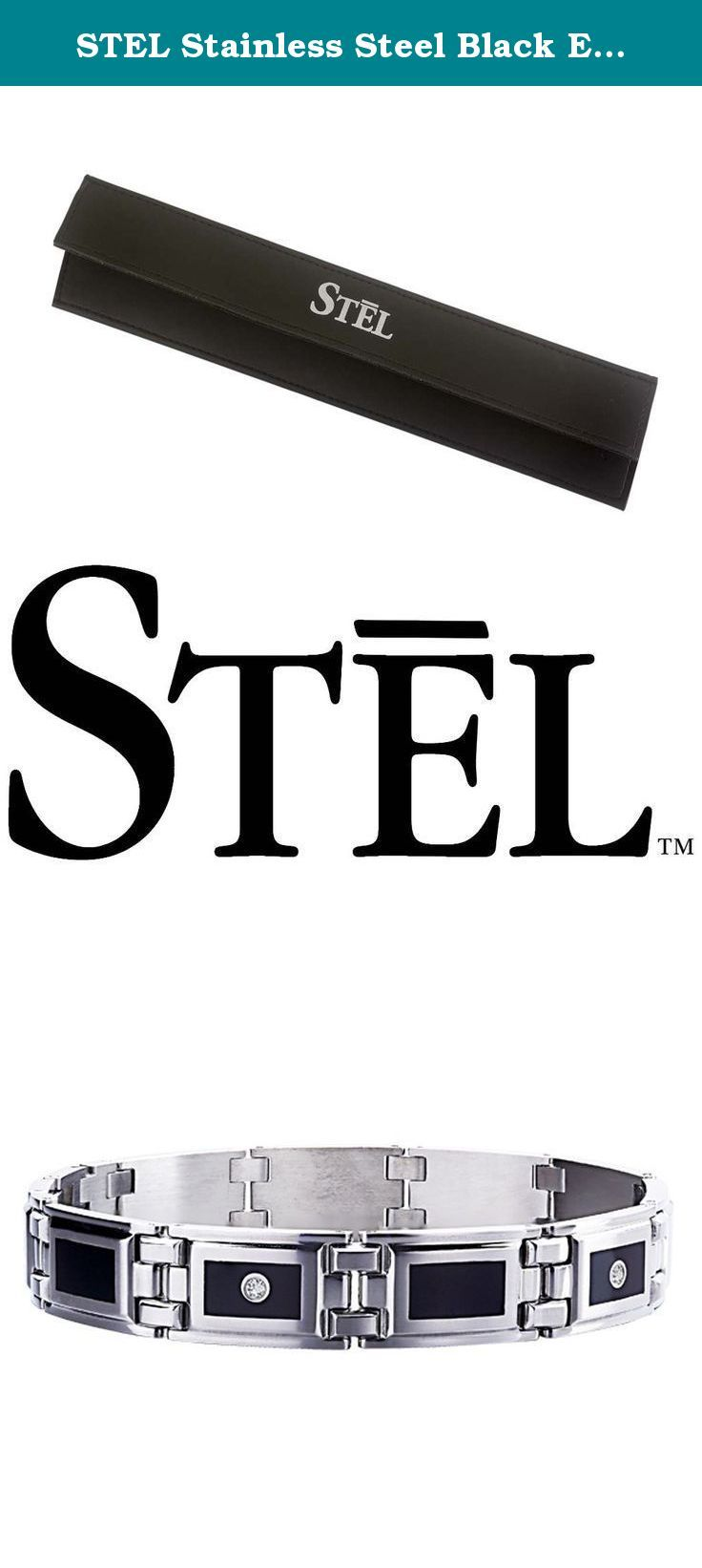 """STEL Stainless Steel Black Enamel Inlay and .12ct tw Diamond Bracelet 8 1/2"""". Jet black scratch resistant baked enamel is framed by sleek jewelry grade stainless steel and accented with genuine diamonds. Suave sophistication at its most handsome. STEL is the original line of stainless steel jewelry accessories for men of all ages and lifestyles. Precision crafted from the highest quality 316L Stainless Steel, plumb gold, diamonds and everlasting enamel, the STEL collections are stylish..."""