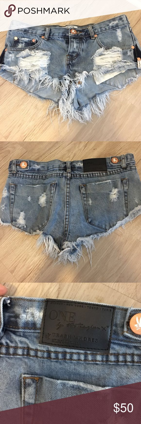 "NWOT. One Teaspoon shorts in style ""trashwores"" NWOT. One Teaspoon denim shorts in style ""trashwores"" never worn. One Teaspoon Shorts Jean Shorts"