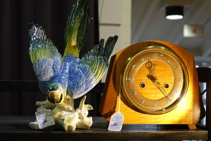 China bird and antique clock at Sandown Antiques & Collectors Fair