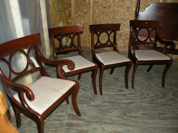 Antique TELL CITY Sabre Leg~Set of 4 Upholstered Mahogany Dining Room Chairs   eBay