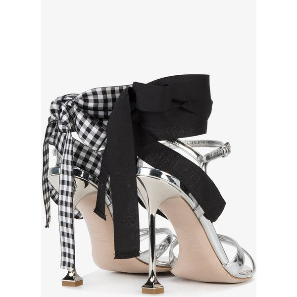 Miu Miu  lace-up sandals ($660) ❤ liked on Polyvore featuring shoes, sandals, black white sandals, black sandals, lace up sandals, strap sandals and high heel stilettos