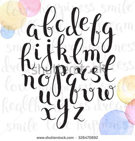 Handmade letters. Handwritten alphabet with watercolor spots on background. Hand drawn calligraphy. Modern inc typography. - stock vector