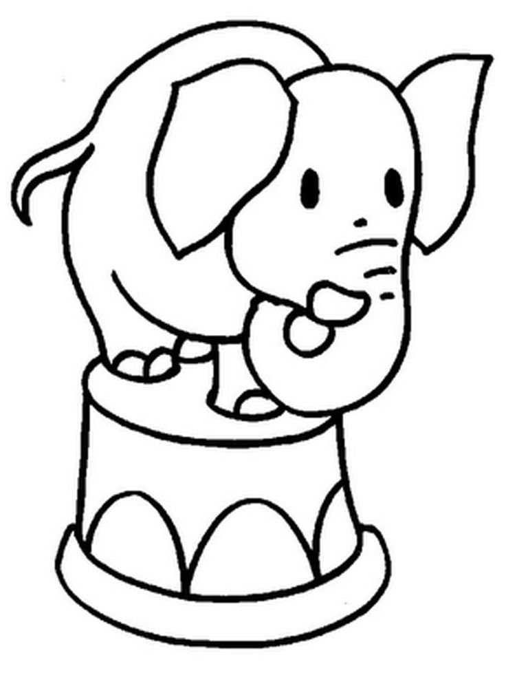 Elephant Action On Circus Coloring Pages
