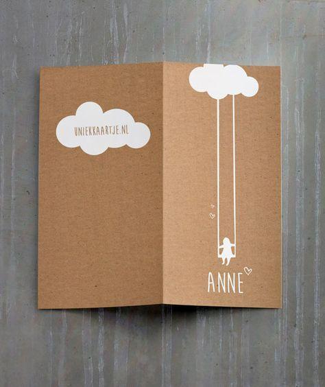 Anne   uniek   origineel   geboortekaartje   vintage   rustiek   natuurlijk   kraft   karton   baby   meisje   wolk   silhouet   witte inkt   Studio Altena   kies je eigen kleur   nu ook verkrijgbaar voor een jongen!
