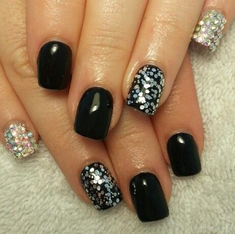 black acrylic nails with silver glitter  division of